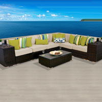 Grand Ocean View Ivory 9 Piece Outdoor Wicker Patio Furniture Set