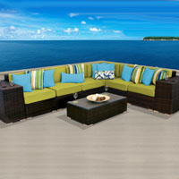 Grand Ocean View Peridot 9 Piece Outdoor Wicker Patio Furniture Set