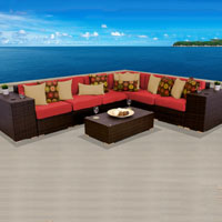 Grand Ocean View Red Spice 9 Piece Outdoor Wicker Patio Furniture Set