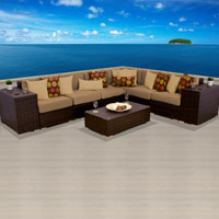 Grand Ocean View Taupe 9 Piece Outdoor Wicker Patio Furniture Set