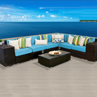 Grand Ocean View Tropical Blue 9 Piece Outdoor Wicker Patio Furniture Set