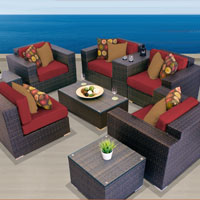 Exclusive Ocean View Henna Spice 9 Piece Outdoor Wicker Patio Furniture Set