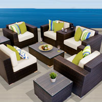 Exclusive Ocean View Ivory 9 Piece Outdoor Wicker Patio Furniture Set