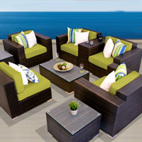 Exclusive Ocean View Peridot 9 Piece Outdoor Wicker Patio Furniture Set