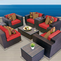 Exclusive Ocean View Spice Red 9 Piece Outdoor Wicker Patio Furniture Set
