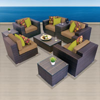 Exclusive Ocean View Taupe 9 Piece Outdoor Wicker Patio Furniture Set