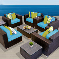 Exclusive Ocean View Tropical Blue 9 Piece Outdoor Wicker Patio Furniture Set