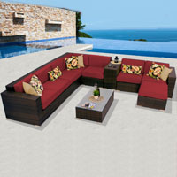 Deluxe Ocean View Henna Spice 10 Piece Outdoor Wicker Patio Furniture Set