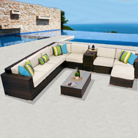 Deluxe Ocean View Ivory 10 Piece Outdoor Wicker Patio Furniture Set