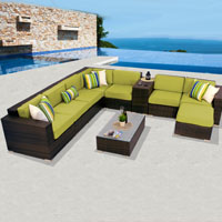 Deluxe Ocean View Peridot 10 Piece Outdoor Wicker Patio Furniture Set