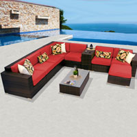 Deluxe Ocean View Spice Red 10 Piece Outdoor Wicker Patio Furniture Set
