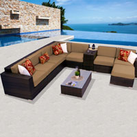 Deluxe Ocean View Taupe 10 Piece Outdoor Wicker Patio Furniture Set