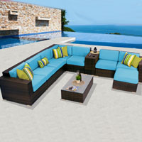 Deluxe Ocean View Tropical Blue 10 Piece Outdoor Wicker Patio Furniture Set