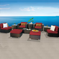 Elegant Ocean View Henna Spice 10 Piece Outdoor Wicker Patio Furniture Set