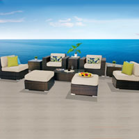Elegant Ocean View Ivory 10 Piece Outdoor Wicker Patio Furniture Set