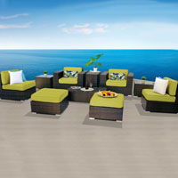 Elegant Ocean View Peridot 10 Piece Outdoor Wicker Patio Furniture Set
