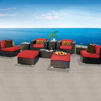 Elegant Ocean View Red Spice 10 Piece Outdoor Wicker Patio Furniture Set