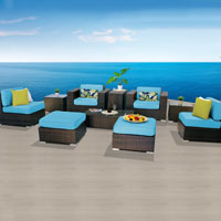 Elegant Ocean View Tropical Blue 10 Piece Outdoor Wicker Patio Furniture Set