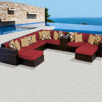 Contemporary Ocean View Henna Spice 10 Piece Outdoor Wicker Patio Furniture Set