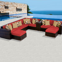Contemporary Ocean View Spice Red 10 Piece Outdoor Wicker Patio Furniture Set