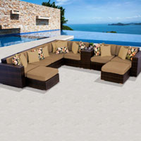 Contemporary Ocean View Toupe 10 Piece Outdoor Wicker Patio Furniture Set