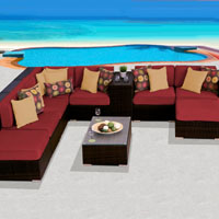 Grand Ocean View Henna Spice 10 Piece Outdoor Wicker Patio Furniture Set