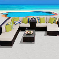Grand Ocean View Ivory 10 Piece Outdoor Wicker Patio Furniture Set
