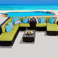 Grand Ocean View Peridot 10 Piece Outdoor Wicker Patio Furniture Set