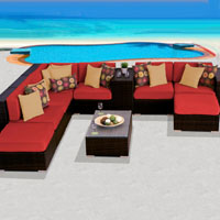 Grand Ocean View Spice Red 10 Piece Outdoor Wicker Patio Furniture Set