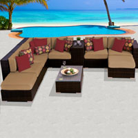 Grand Ocean View Taupe 10 Piece Outdoor Wicker Patio Furniture Set