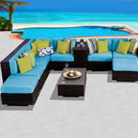 Grand Ocean View Tropical Blue 10 Piece Outdoor Wicker Patio Furniture Set