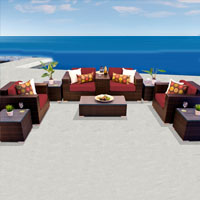 Exclusive Ocean View Henna Spice 10 Piece Outdoor Wicker Patio Furniture Set