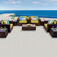 Exclusive Ocean View Peridot 10 Piece Outdoor Wicker Patio Furniture Set