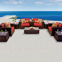 Exclusive Ocean View Spice Red 10 Piece Outdoor Wicker Patio Furniture Set