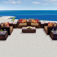 Exclusive Ocean View Taupe 10 Piece Outdoor Wicker Patio Furniture Set
