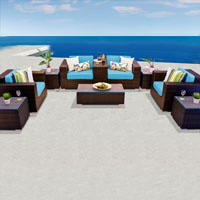 Exclusive Ocean View Tropical Blue 10 Piece Outdoor Wicker Patio Furniture Set