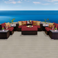 Modern Ocean View Henna Spice 10 Piece Outdoor Wicker Patio Furniture Set