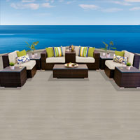 Modern Ocean View Ivory 10 Piece Outdoor Wicker Patio Furniture Set