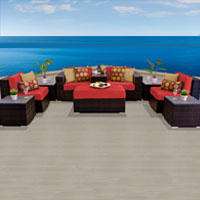 Modern Ocean View Spice Red 10 Piece Outdoor Wicker Patio Furniture Set