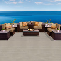 Modern Ocean View Taupe 10 Piece Outdoor Wicker Patio Furniture Set