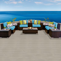Modern Ocean View Tropical Blue 10 Piece Outdoor Wicker Patio Furniture Set