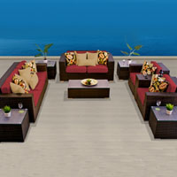Elite Ocean View Henna Spice 10 Piece Outdoor Wicker Patio Furniture Set