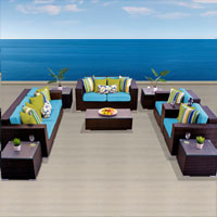 Elite Ocean View Tropical Blue 10 Piece Outdoor Wicker Patio Furniture Set