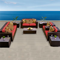 Elite Ocean View Red Spice 10 Piece Outdoor Wicker Patio Furniture Set