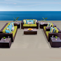 Elite Ocean View Peridot 10 Piece Outdoor Wicker Patio Furniture Set