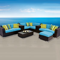 Contemporary Ocean View Tropical Blue 11 Piece Outdoor Wicker Patio Furniture Set