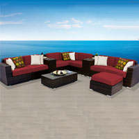 Contemporary Ocean View Henna Spice 11 Piece Outdoor Wicker Patio Furniture Set