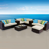 Contemporary Ocean View Ivory 11 Piece Outdoor Wicker Patio Furniture Set