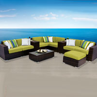 Contemporary Ocean View Peridot 11 Piece Outdoor Wicker Patio Furniture Set