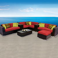 Contemporary Ocean View Red Spice 11 Piece Outdoor Wicker Patio Furniture Set